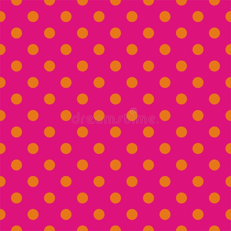 Tegel vectorpatroon met oranje stippen op roze achtergrond royalty-vrije illustratie
