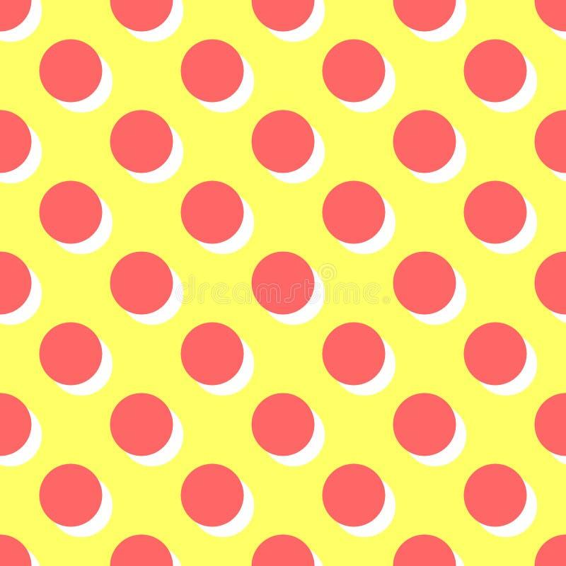 Tegel vectorpatroon met roze stippen en oranje schaduw op gele achtergrond vector illustratie