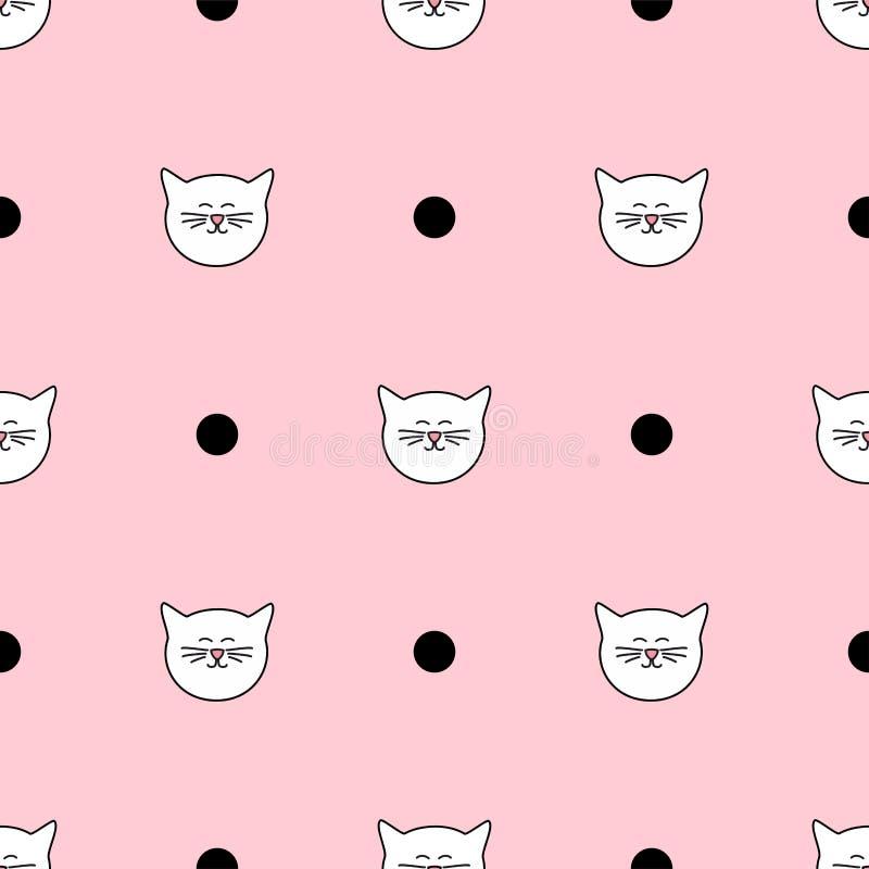 Tegel vectorpatroon met witte katten en zwarte stippen op roze achtergrond royalty-vrije illustratie