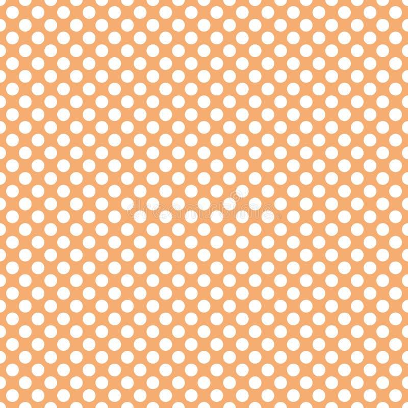 Tegel vectorpatroon met witte stippen op pastelkleur oranje achtergrond royalty-vrije illustratie