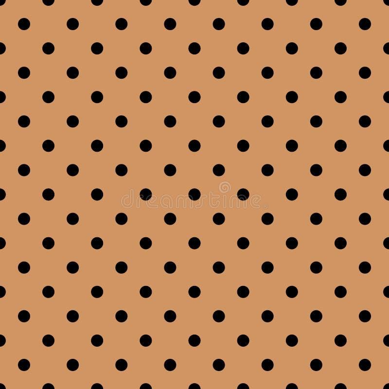 Tegel vectorpatroon met zwarte stippen op de achtergrond van het pastelkleurkoraal vector illustratie