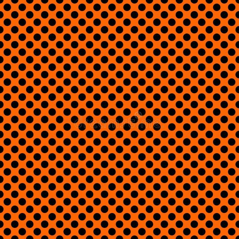 Tegel vectorpatroon met zwarte stippen op oranje achtergrond stock illustratie