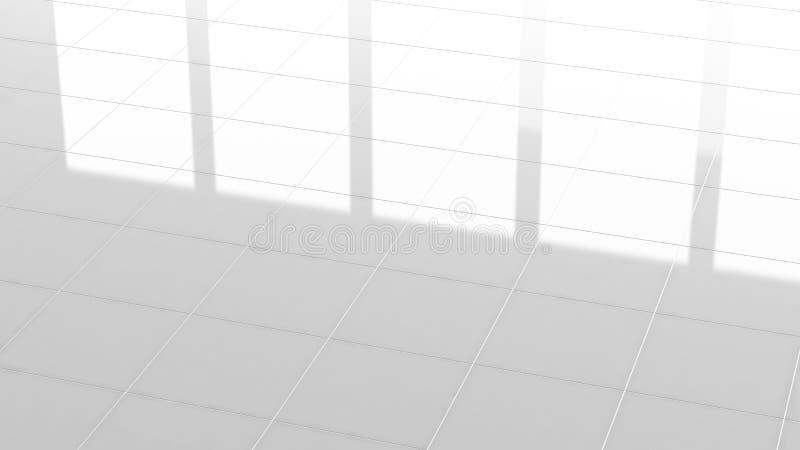 Tegel witte bevloering, weerspiegeling van 3d textuurachtergrond, vector illustratie