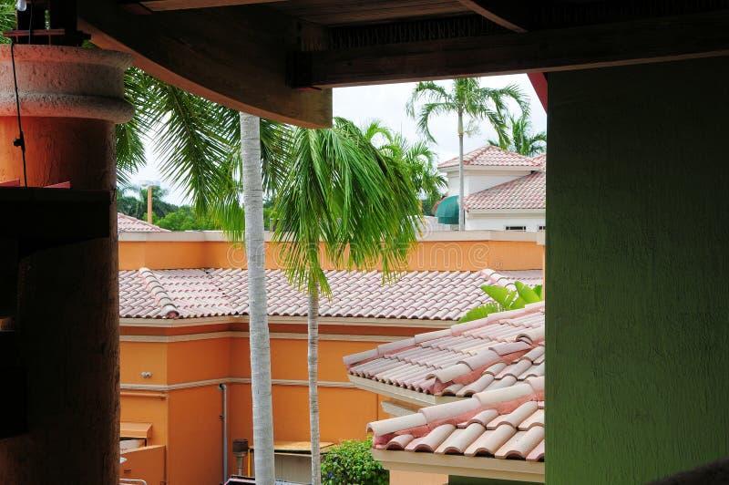Tegeldaken & palmen & kleurrijke bureaugebouwen, FL royalty-vrije stock foto