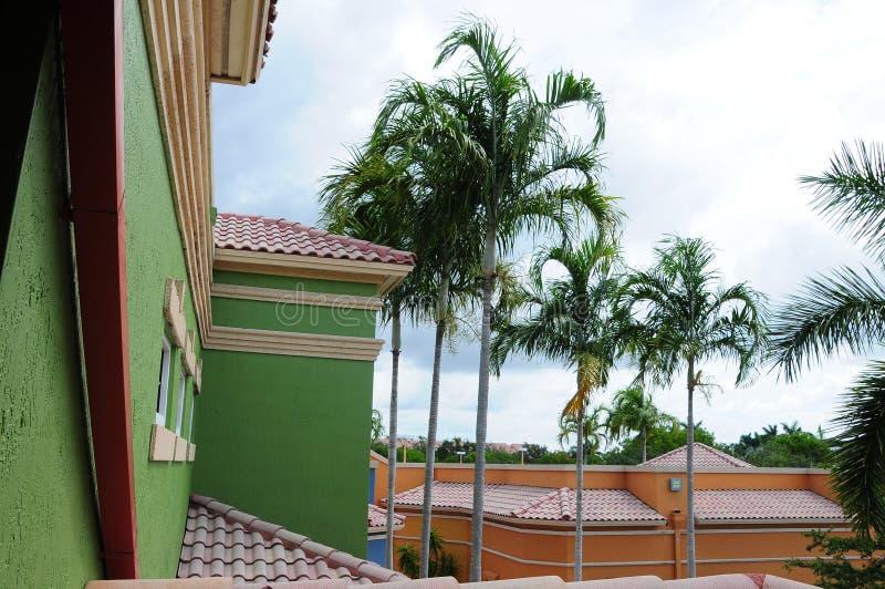 Tegeldaken van kleurrijke bureaugebouwen, FL royalty-vrije stock afbeeldingen
