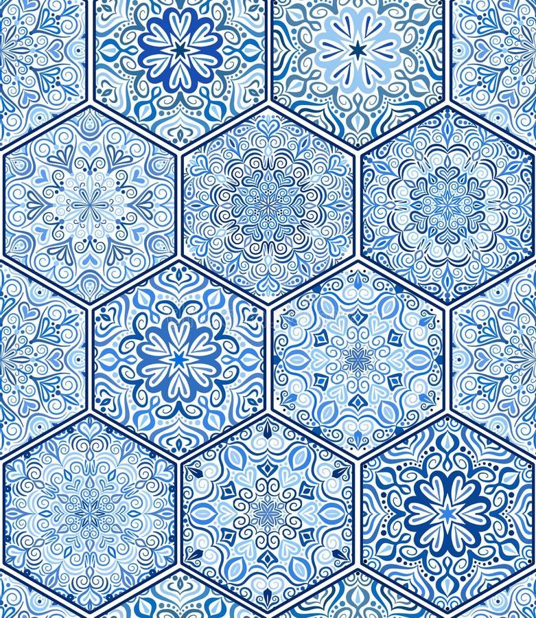 Tegelplatta för indigoblå blått royaltyfri illustrationer
