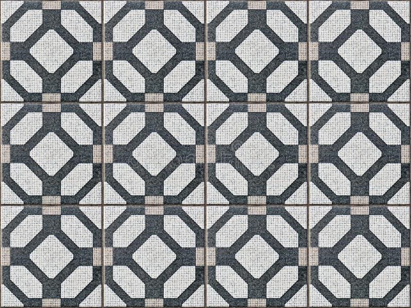 Tegelplatta som är keramisk med sömlösa och geometriska former vektor illustrationer