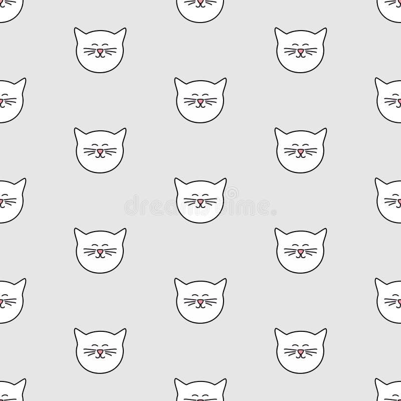 Tegelplattavektormodell med vita katter på grå bakgrund royaltyfri illustrationer
