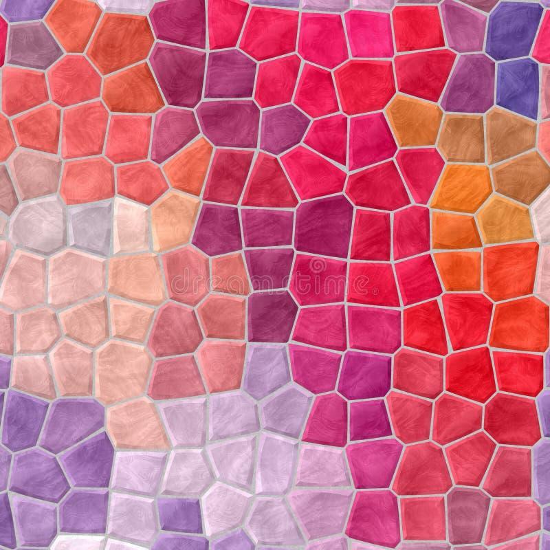 Tegelplattor för mosaik för naturmarmor texturerar plast- steniga bakgrund med grå grout - den röda varma chili, rosa, magentafär vektor illustrationer