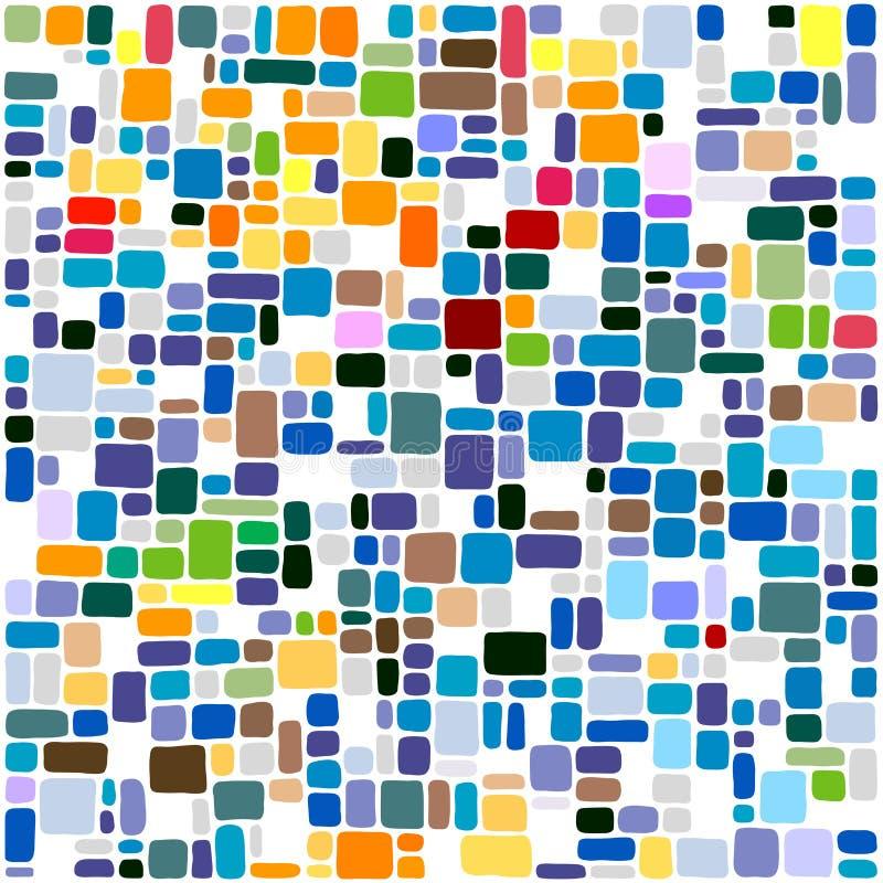 Tegelplattor gör sammandrag den färgrika mosaiken för bakgrund stock illustrationer