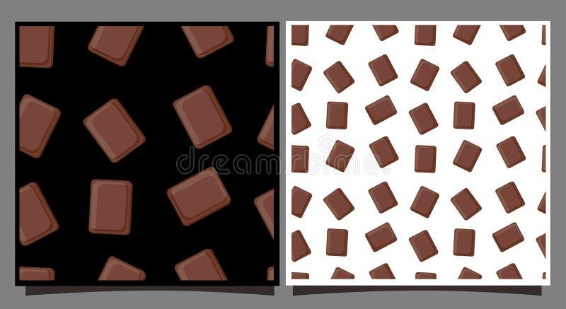 Tegelplattor med chokladstycken m?nstrad seamless s?tsaker Kort med vit och svart bakgrund F?r utskrift p? tyg royaltyfri illustrationer
