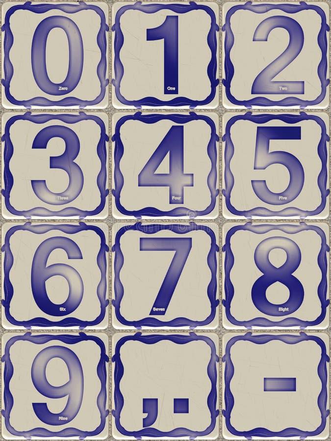 Tegelplattor med siffror från noll till nio stock illustrationer