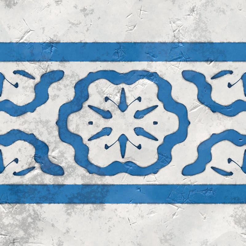 Tegels blauwe witte naadloos royalty-vrije illustratie