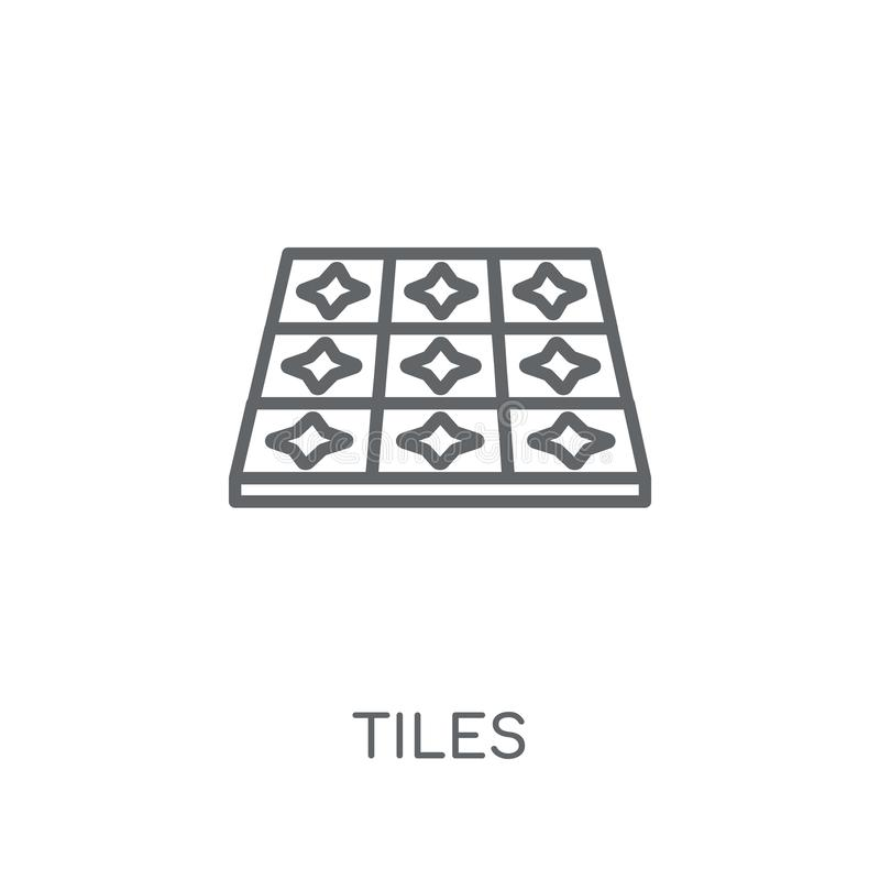 Tegels lineair pictogram Modern het embleemconcept van overzichtstegels op witte bedelaars stock illustratie