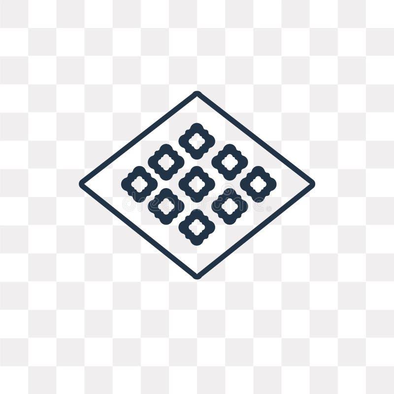 Tegels vectordiepictogram op transparante achtergrond, lineaire Til wordt geïsoleerd stock illustratie