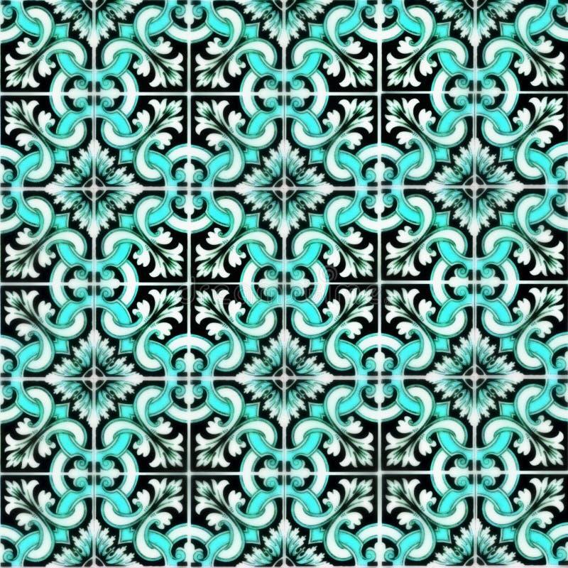 Tegelsachtergrond Traditionele overladen Portugese Azulejos royalty-vrije illustratie