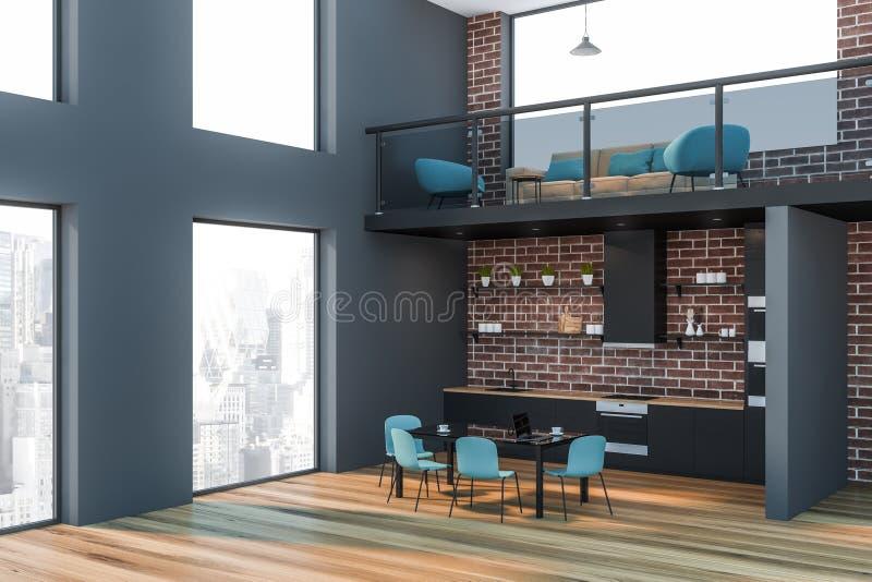 Tegelsten och grått kontorsvardagsrum- och kökhörn stock illustrationer