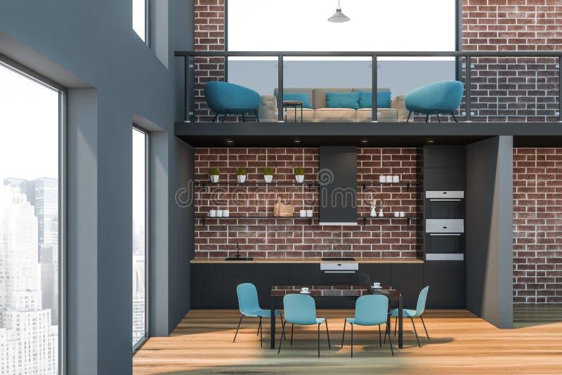 Tegelsten och rum och kök för grått kontor väntande vektor illustrationer