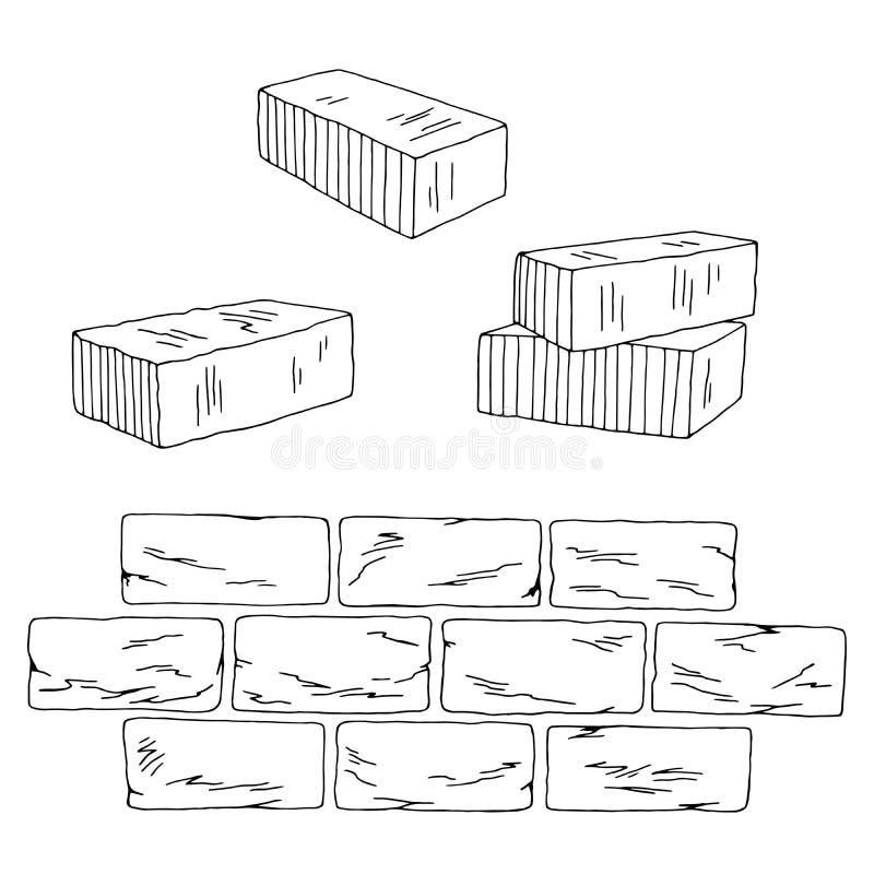 Tegelsten ställde in grafiskt svart vitt isolerat skissar illustrationvektorn stock illustrationer