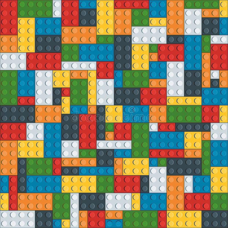 tegelstenar för sömlös modell för leksak för sju färg ljus av överflödobjekt royaltyfri fotografi
