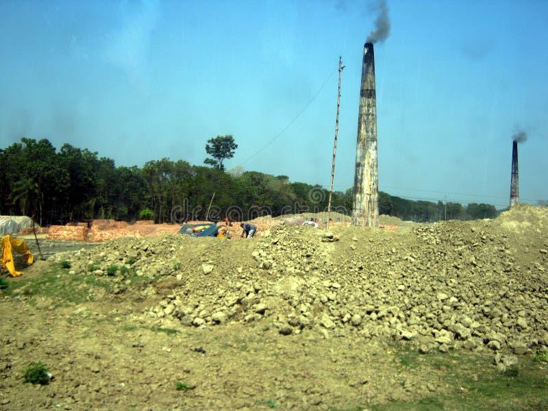Tegelstenbrännugn Bangladesh arkivbild