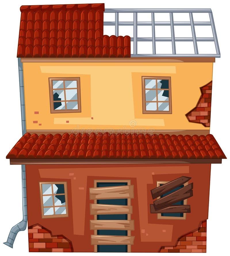Tegelstenhus med det brutna taket och fönster vektor illustrationer