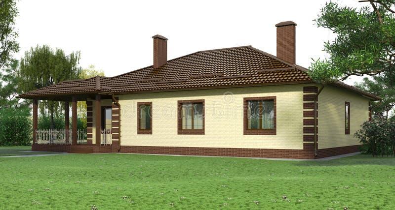 Tegelstenhus med en garden2 royaltyfria bilder