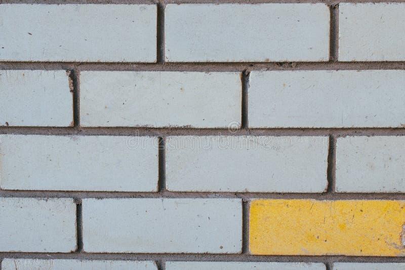 Tegelstenmurverkcloseup för bakgrund Gråa tegelstenar och en som är gula Begrepp contrast arkivbild