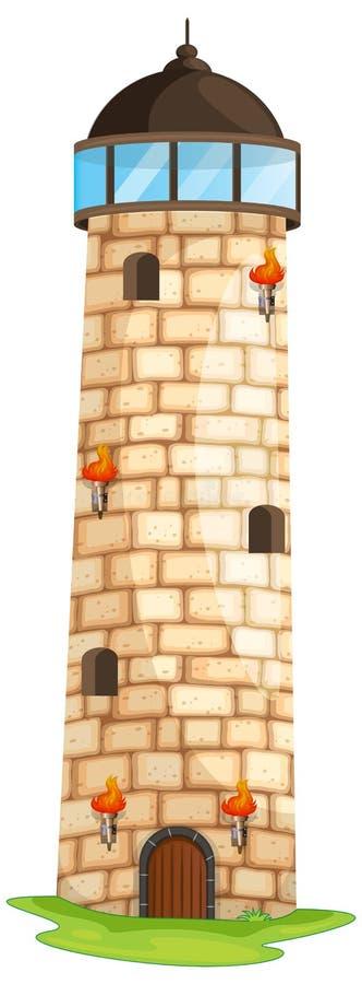 Tegelstentorn med facklor och fönster stock illustrationer