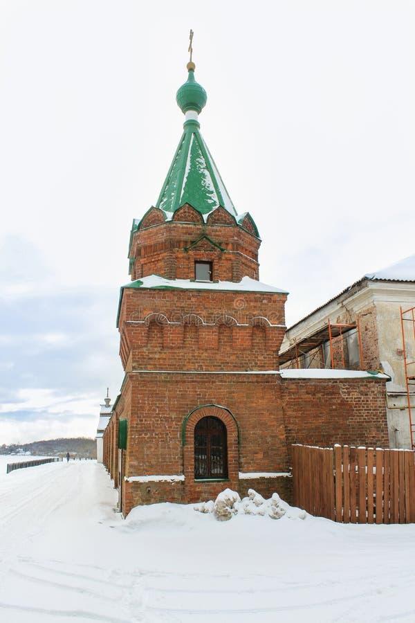 Tegelstentornet av kloster arkivfoto