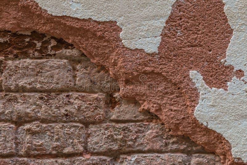 Tegelstenvägg med den försämras stuckaturen i Venedig arkivbild