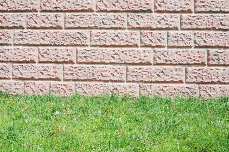Tegelstenvägg med gräsgolvet royaltyfria bilder