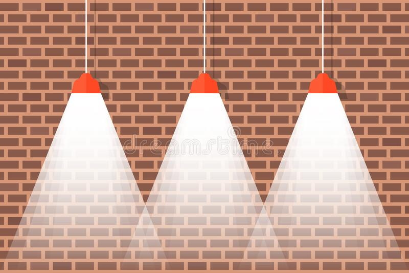 Tegelstenvägg med hängande taklampor med ljust ljus royaltyfri illustrationer