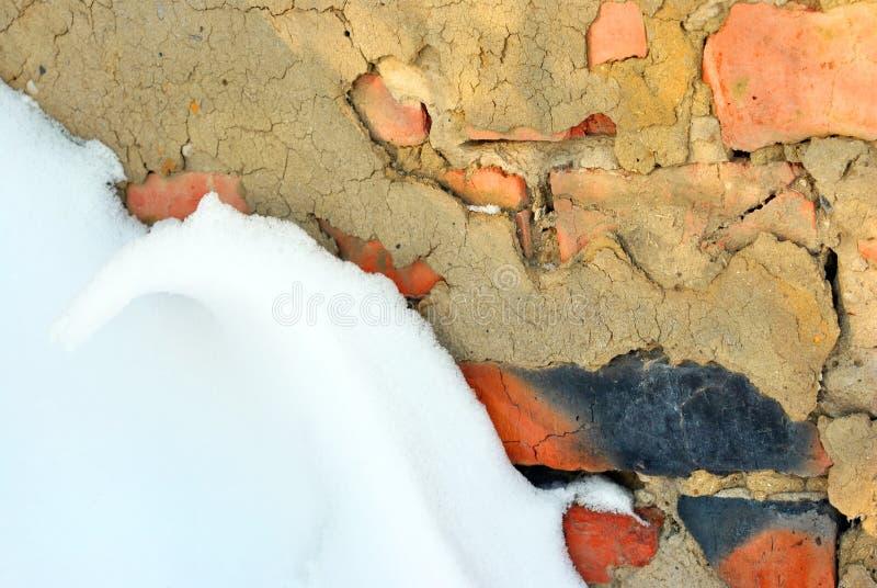 Tegelstenvägg med murbruk som täckas med snö royaltyfri fotografi