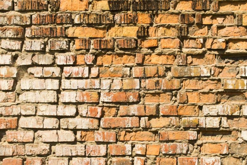 Tegelstenväggen slås av vattenerosion arkivfoto