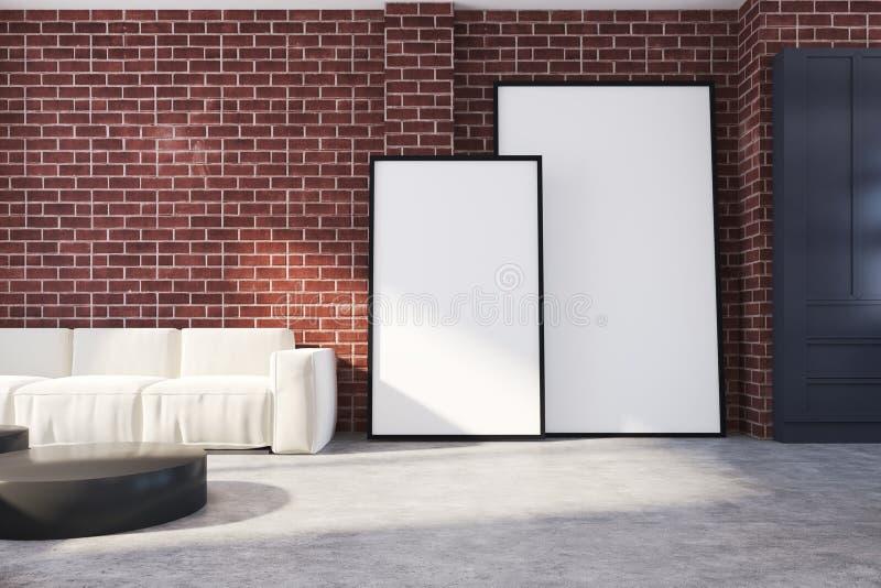 Tegelstenvardagsrum, soffa och affischer vektor illustrationer
