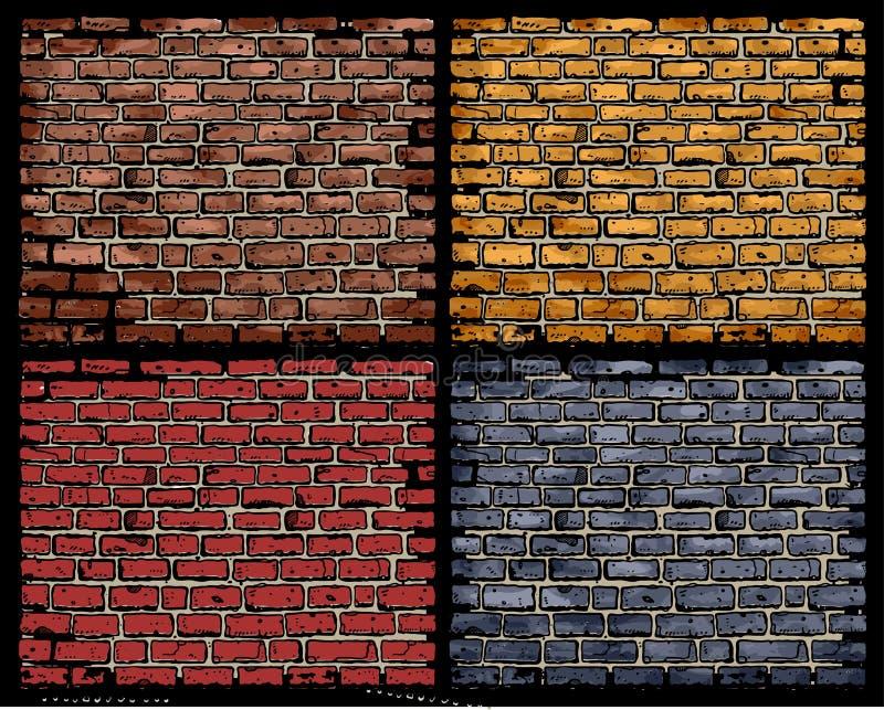 tegelstenvektorvägg royaltyfri illustrationer