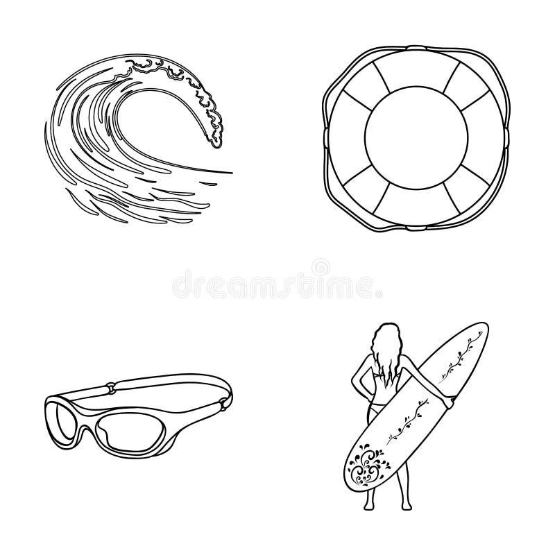 Tegemoetkomende golf, het levensring, beschermende brillen, meisje het surfen Het surfen van vastgestelde inzamelingspictogrammen vector illustratie