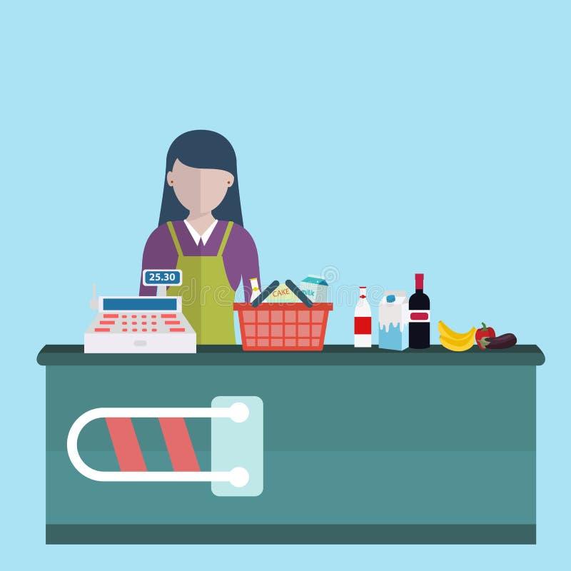 Tegen het bureaumateriaal en bediende van de supermarktopslag in eenvormig omhoog bellend kruidenierswinkelaankopen De vlakke sti vector illustratie