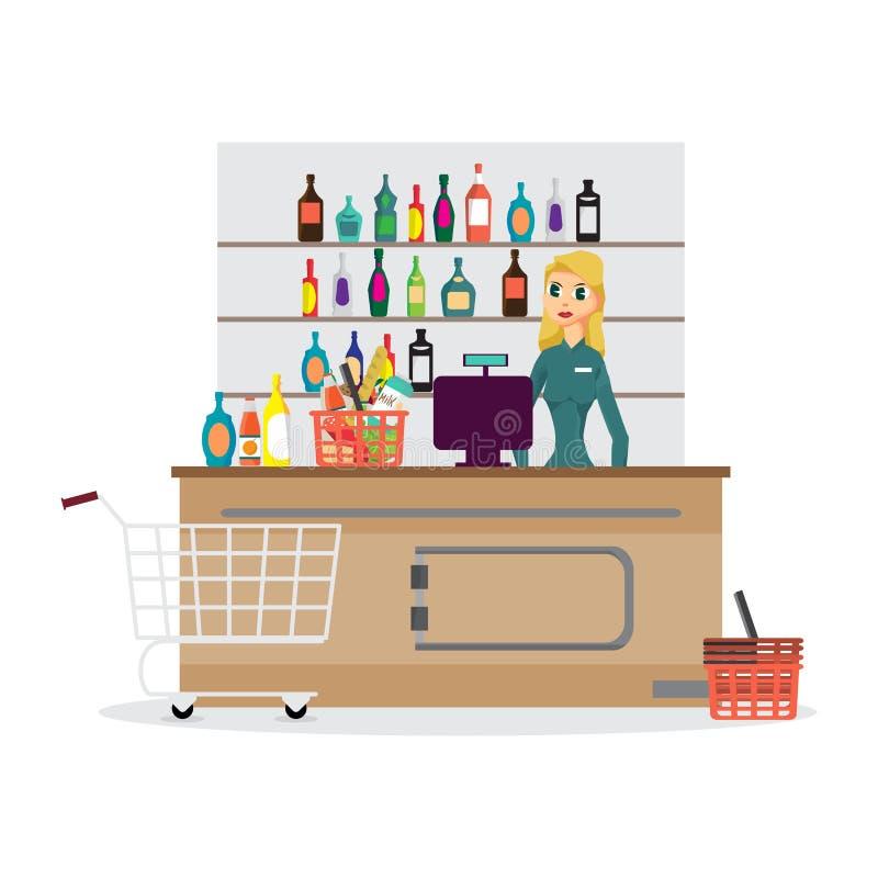 Tegen het bureaumateriaal en bediende van de supermarktopslag in eenvormige ri vector illustratie