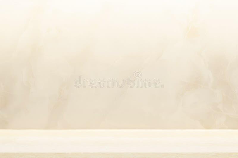 Tegenbovenkant, muur en vloer beige marmeren steenontwerp van decoratie schone achtergrond Gebruikt voor montering of vertoningsp royalty-vrije stock foto's