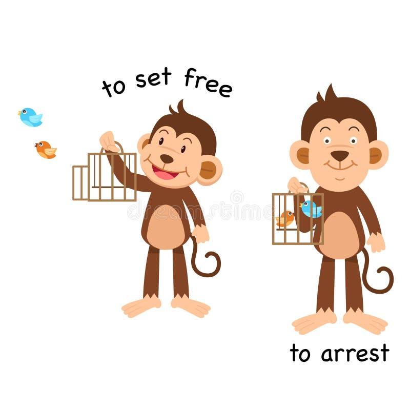 Tegengesteld aan reeks vrij en om arrestatie stock illustratie