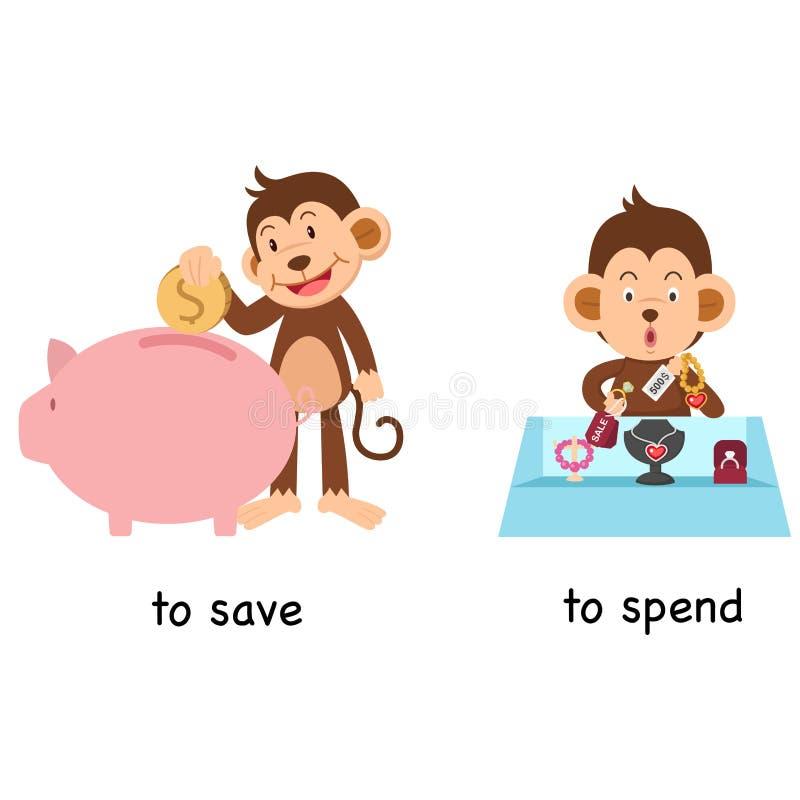 Tegengesteld aan sparen en om te besteden royalty-vrije illustratie