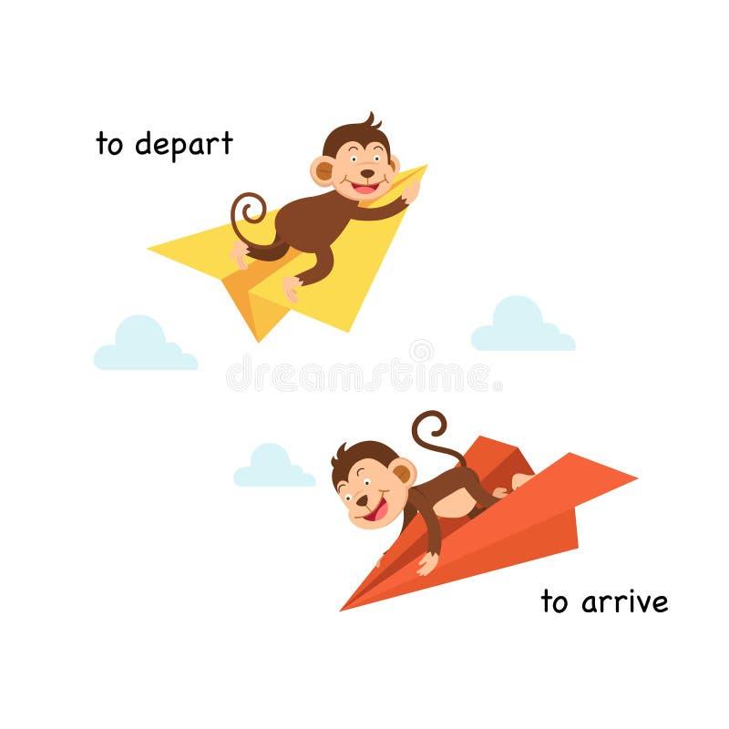 Tegengesteld aan vertrek en om aan te komen vector illustratie