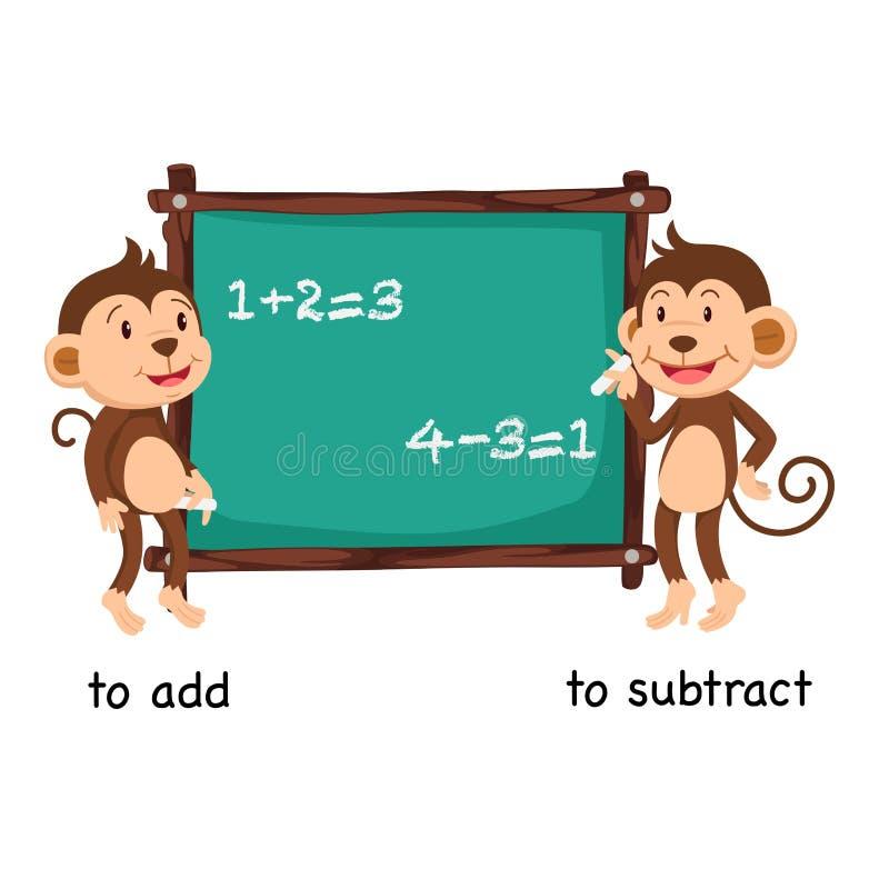 Tegengesteld aan voeg en toe om af te trekken vector illustratie