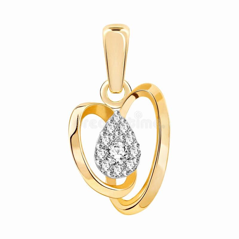 Tegenhanger van goud met diamanten vector illustratie