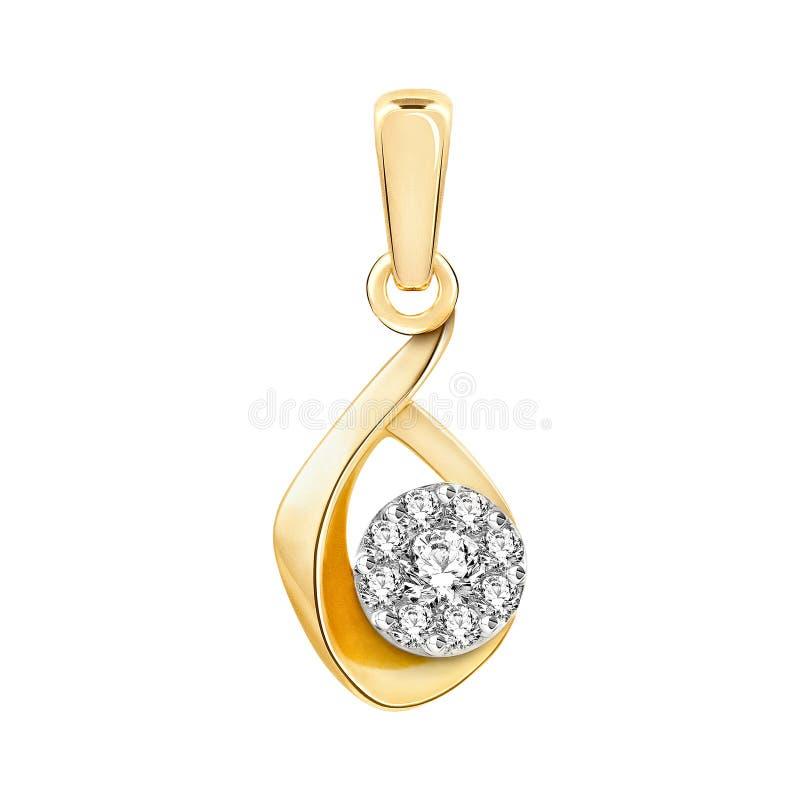 Tegenhanger van goud met diamanten stock illustratie