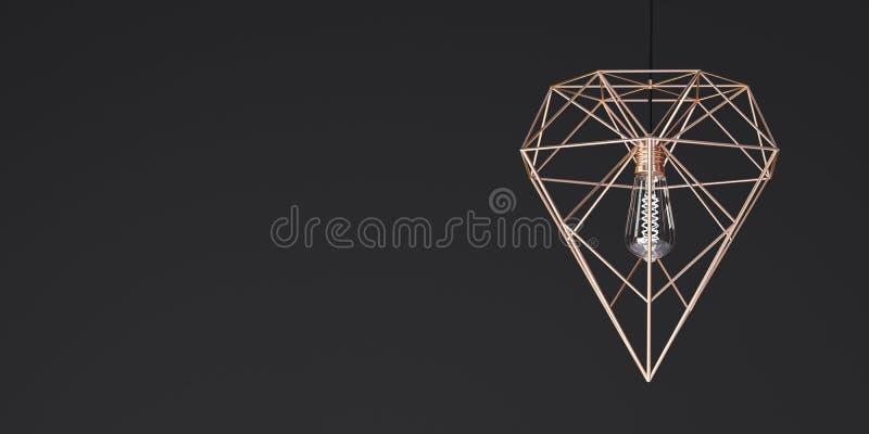 Tegenhangerlamp van gouden kleur in de vorm van een kristal op een zwarte achtergrond - 3D illustratie royalty-vrije illustratie