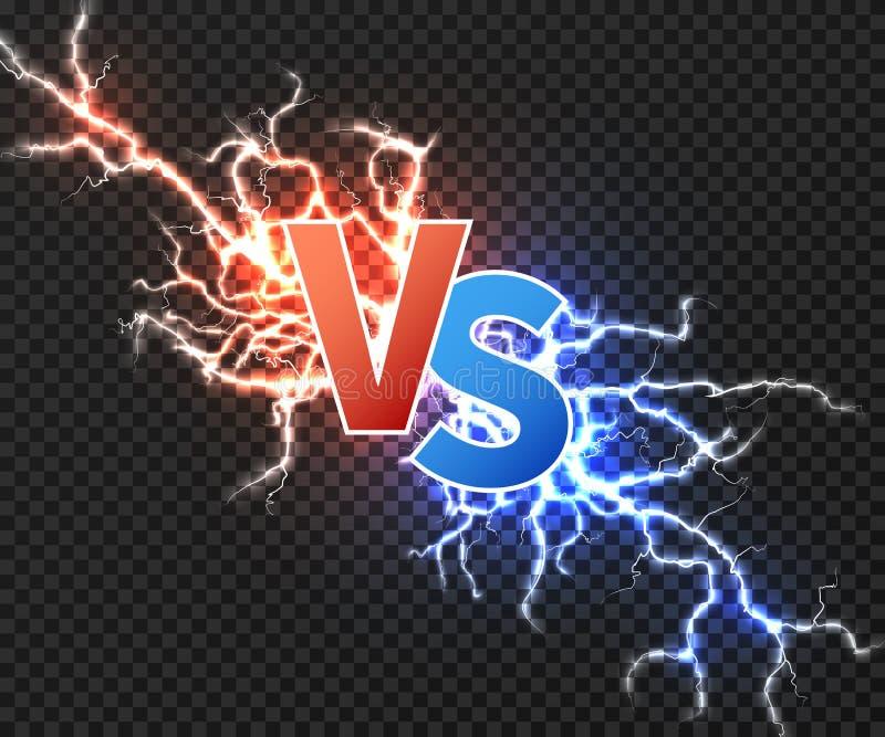 Tegenover concept met botsing van elektrische lossing twee Versus vectorachtergrond met geïsoleerde machtsexplosie van bliksem stock illustratie
