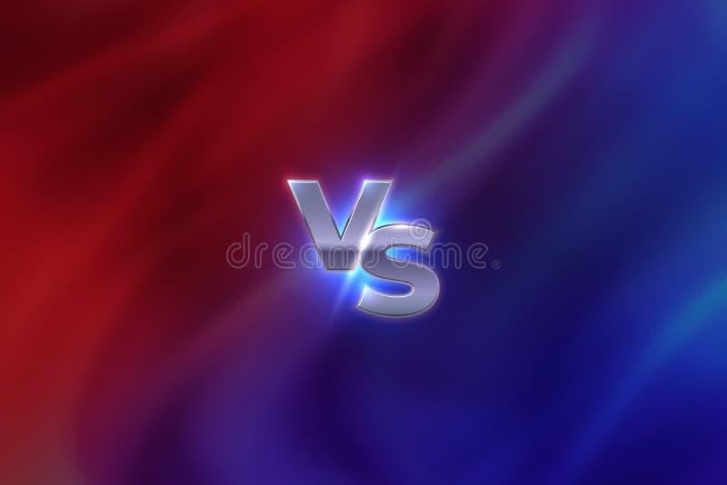 Tegenover Concept VERSUS de concurrentieembleem van de brievensport, het concept van de spelslag, MMA-het bannerscherm Vector teg royalty-vrije illustratie